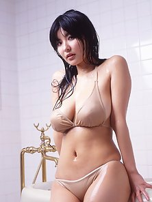 Hot Sexy Naughty Asian Babe with Huge Boobs in Bathroom