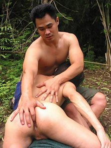 Stunning Twinks Enjoys Huge Cock Eating Act in Jungle