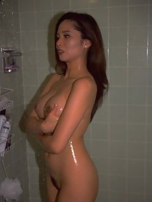 Sensual Sexy Hot Brunette Babe Shower and Trim Twat Showing