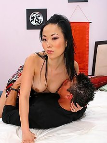 Tall Asian Babe Striptease Before Rammed Her Shaved Twat on Bed