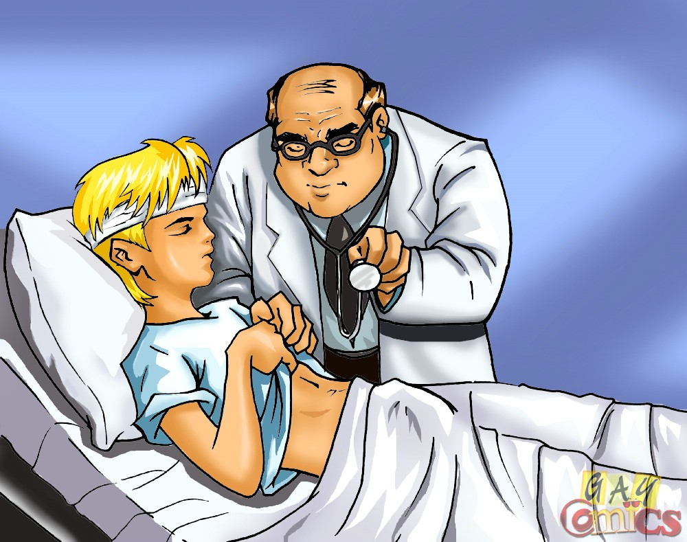 Doctor Cartoon Porn - Look At These Anime Boy and a Horny Doctor Gay Sex Action in Here