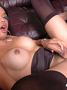 Asian Guy and a Sexy Ladyboy Showing Their Deeply Hardcore Sex on the Couch