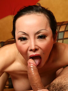 Busty Asian Angie Venus spreading her pussy wide while a hunk stretches her tight butthole