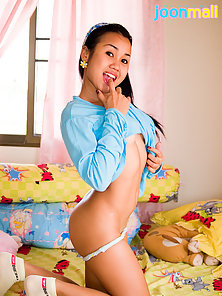 Asian Adolescent Joon Readied for Bunk with Teddy Bear and Clothing!