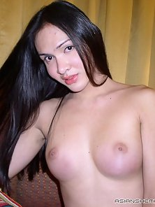 Small Tits Asian Shemale Expose Her Bare Body On Couch
