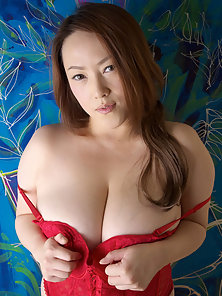 Straight Haired Sexy Red Lingerie Chick Huge Boob Rubbing and Teasing Action