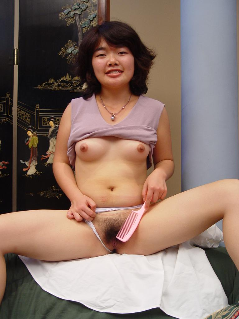 Sexy Short Haired Girl Rubbing Her Hairy Pussy In -4773