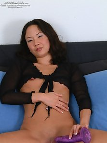 Naughty Tiffany Sucks A Large Dildo and Pounded Hard On Bed in Horny Action