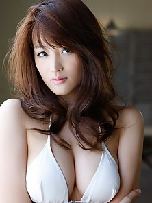 Japanese Baby Doll Mai Hakase Showing Her Natural Big Tits in Bikini