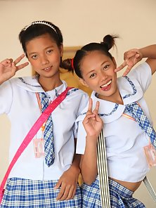 Two Busty Filipina School Girls Showing Their Juicy Twats in Horny Poses