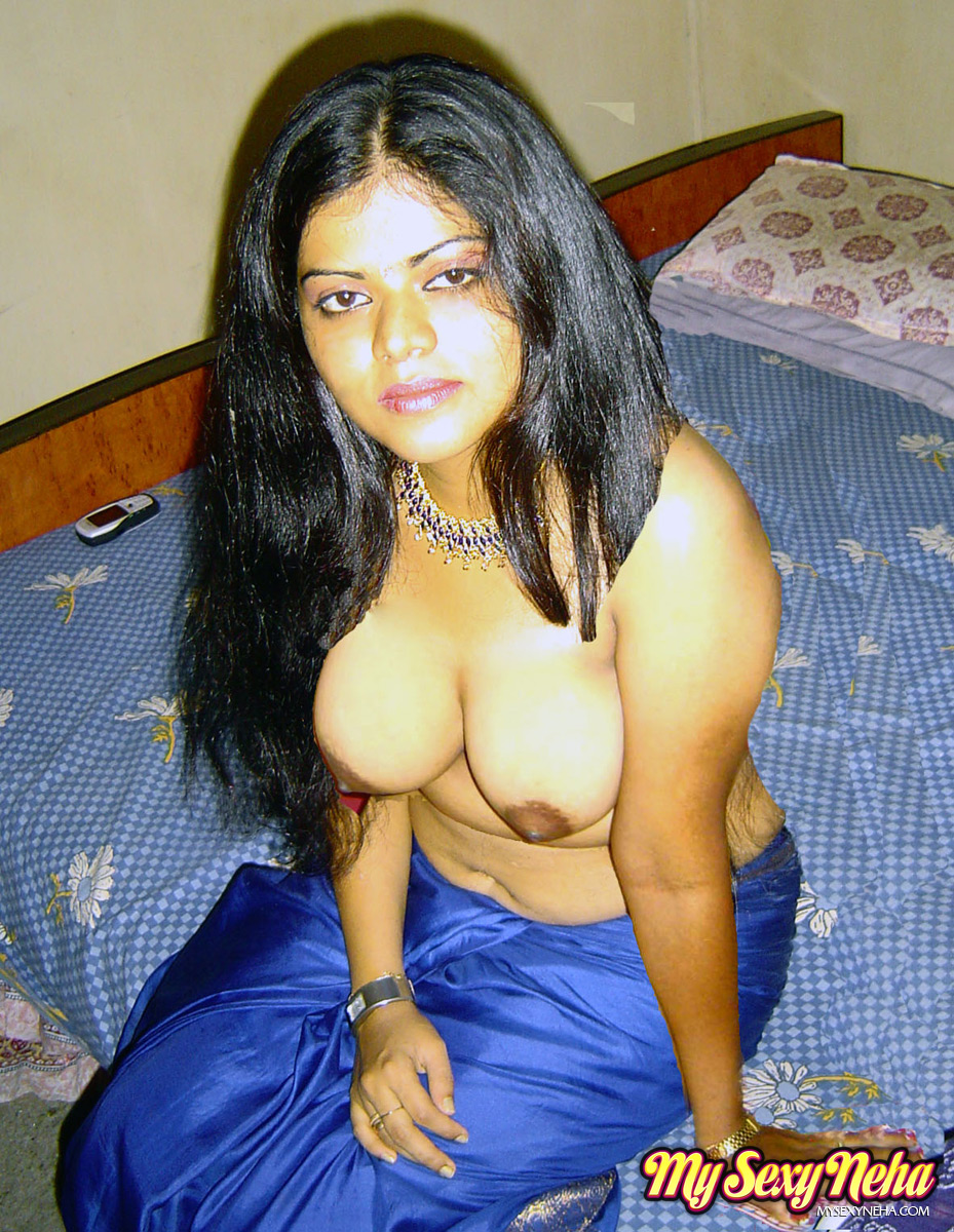 Fantastic Looking Busty Indian Chick Neha in Blue Saree and Expose Her