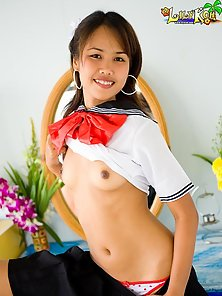 Lovely Japanese Chick Lily Excitedly Strips Her Uniform to Show up Small Tits