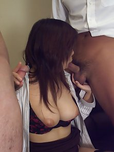 Busty Japanese Babe Huge Cunt Licking and Hard Blowjob by Two Guy