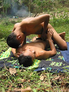 Good Looking Gay Guys Banged Each Other Ass Gaps with Their Dongs in Jungle