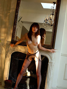 Beautiful Brown Haired Japanese Chick Shows of Her Nude Body On Mirror