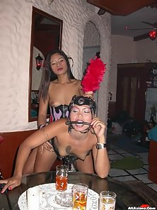 Busty Nasty Lesbian Babe Enjoys Huge Strap on Action in Doggy Style