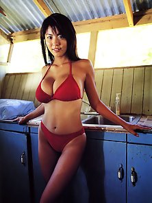 Hot Busty Japanese Babe in Red Bra with Huge Tits at Beach in Horny Action