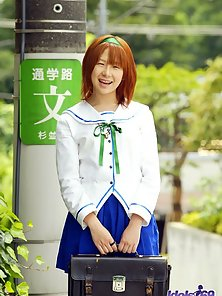 Sexy Asian Schoolgirl up Her Uniform Skirt and Showing Her Naughty Poses