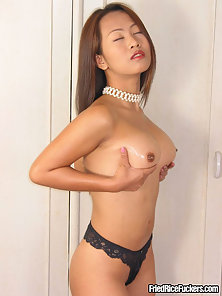 Black Bikini Wear Hot Asian Babe Massive Drilled Her Tight Cunny by Dildo