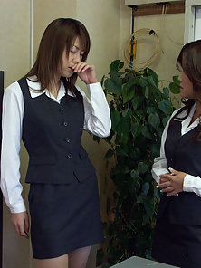 Busty Japanese Lesbians Licking Their Hairy Pussies in Naughty Action