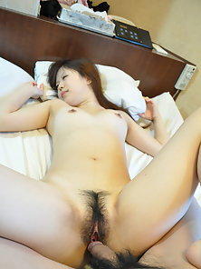 Horny brunette Noriko Kago shows off her hairy twat and nailed