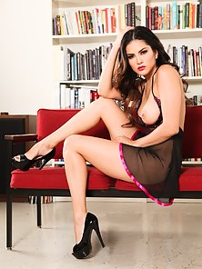 Study Room Couch Sheer Black Dressed Sunny Leone Horny In Naked