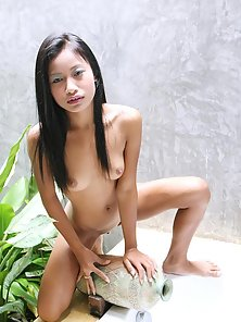 Fully Nude Skinny Sexy Brunette Haired Thai Babe Standing On Sexy Poses