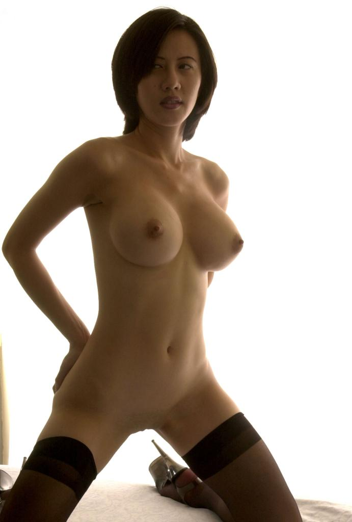 Busty Asian Hairy Milf - Busty Brunette Babe in Black Stockings Shows Her Hairy Pussy with Pleasure