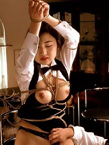 Stunning Roped Babe Gets Huge Boob Pressing Act Before Slammed By a Guy