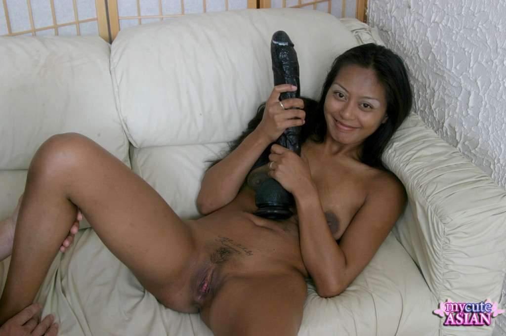 mature asian pussy dildo gif - Dashing Brunette Chick Is Hugely Dildo Drilling Her Tight Pussy