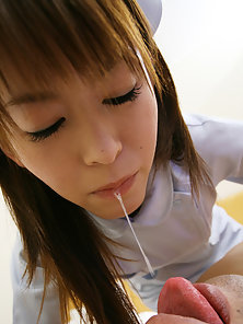 Japanese nurse is a whore for her horny patients and loves mouthfuls of warm cum
