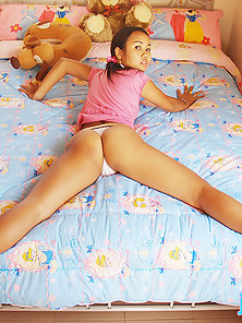Hot Asian Pigtail Babe June Mali Shows Her Pink Panty and Spreads Round Ass