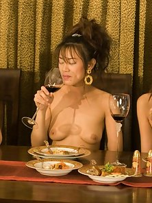 Naughty Asian Babes Enjoying Dinner Party in Naked Body
