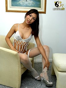 Perky Titted Ladyboy Exposing Her Naughty Looks On the Sofa in Huge Passion