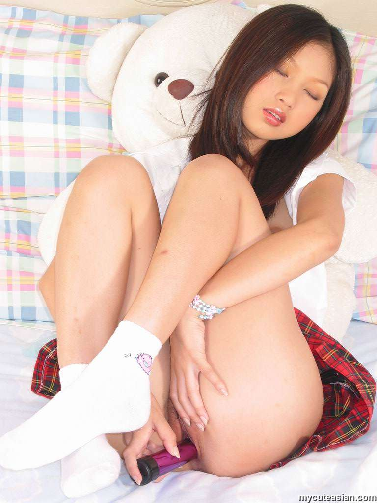 Sweet Asian Teen In School Uniform Strips And Plugs A -2272