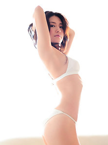 White Bikini Wear Haruna Yabuki Exposing Her Lovely Poses in Here