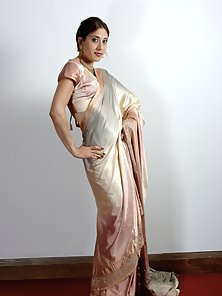 Charming Indian Lady Expose Her by Stripping Her Silk Saree