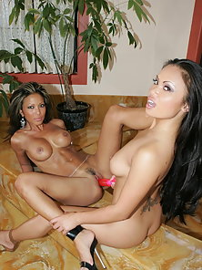 Teanna Kai and Mya Luanna Two Hot Babes Playing With a Dildo in Hot Mood