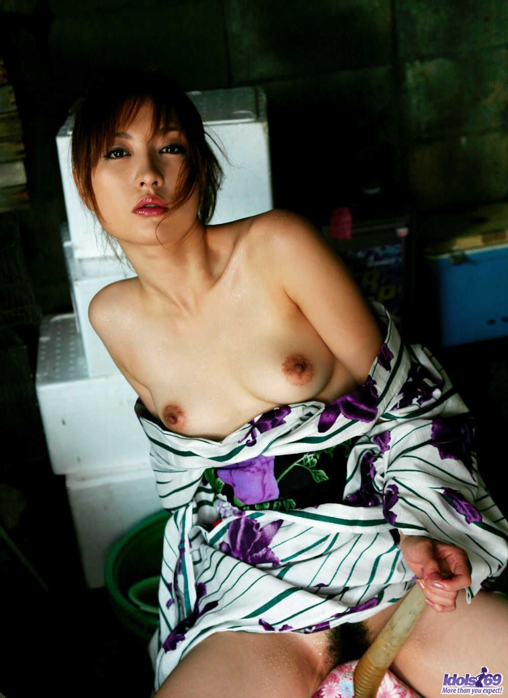 naughty girl kimono pulls up her dress and shows her big ass at