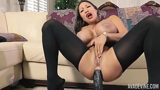 Asian pornstar Ava Devine rides on monster toy