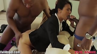 Sexy Asian getting pounded by fat black dicks