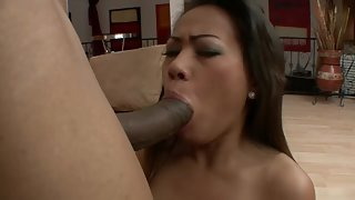 Brunette amateur gets big black cock in her mouth