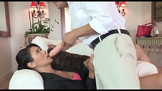 Horny asian milf sucks dildo before sucking on real cock