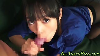 Sweet Asian Teen Gives Blowjob to a Massive Cock