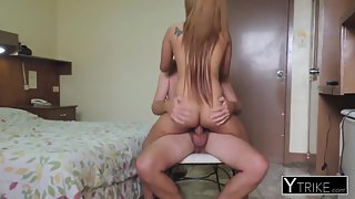 Petite asian hooker rides on dick after sucking it good