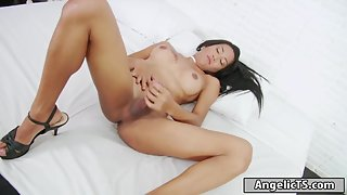 Horny shemale in heels masturbating alone on web after striptease