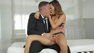 Beautiful pornstar Alina Li shaved pink pussy pounded and jizzed