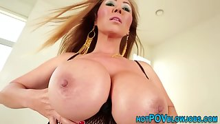 Giant titty milf gives a titty fuck and swallows warm jizz