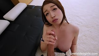 Horny Asian sucking and fucking hard cock in pov