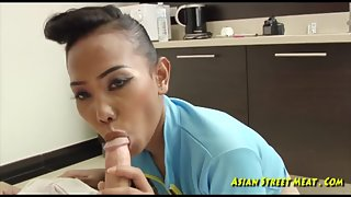 Kinky Asian chick rides white cock
